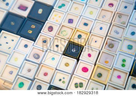 Gemstone jewelery collection closeup, Sri Lanka