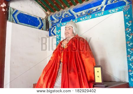 Hebei, China - Oct 13 2015: Zhang Bao Statue At Sanyi Temple. A Famous Historic Site In Zhuozhou, He