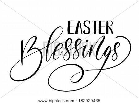 Easter Holiday Celebration. Easter Blessings Handwriting Lettering Design