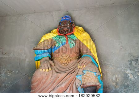 Hebei, China - Oct 13 2015: Zhangfei Statue At Zhangfei Temple. A Famous Historic Site In Zhuozhou,