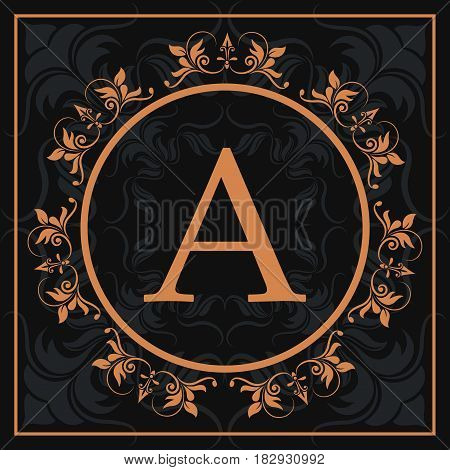florishes gold letter A calligraphic heraldic dark background vector illustration