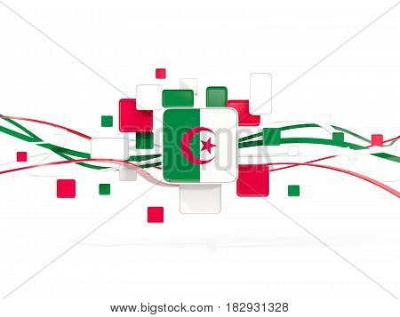 Flag Of Algeria, Mosaic Background With Lines