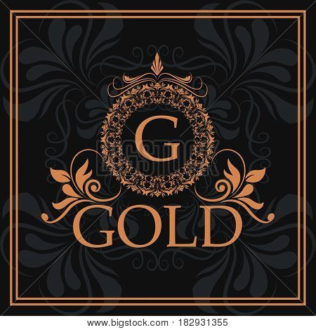 gold G element identity flourishes template vector illustration
