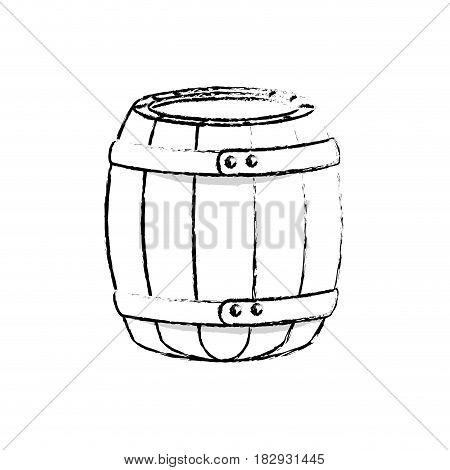 wooden barrel icon over white background. vector illustration