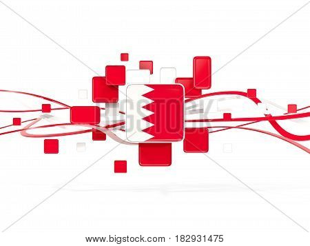 Flag Of Bahrain, Mosaic Background With Lines