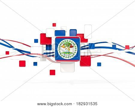 Flag Of Belize, Mosaic Background With Lines