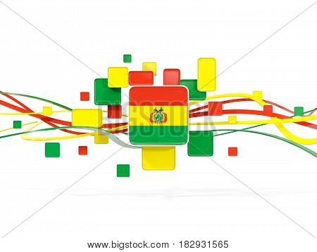 Flag Of Bolivia, Mosaic Background With Lines