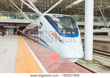 Gunagdong, China - Dec 21 2015: China Railways Crh1E In Shenzhen North Railway Station, Shenzheng, G