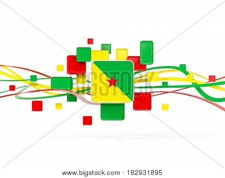 Flag Of French Guiana, Mosaic Background With Lines
