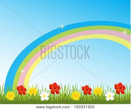 Year glade with flower and rainbow on sky