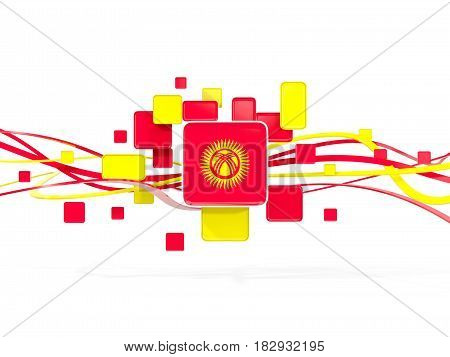 Flag Of Kyrgyzstan, Mosaic Background With Lines