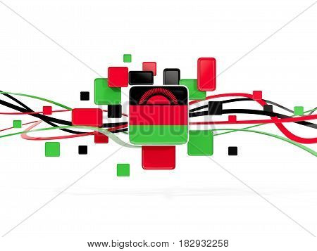 Flag Of Malawi, Mosaic Background With Lines