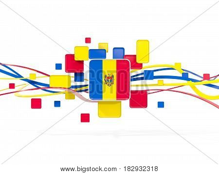 Flag Of Moldova, Mosaic Background With Lines