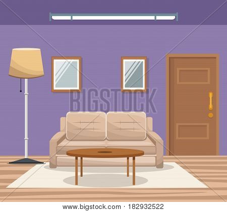 room home interior sofa mirror floor lamp door entrance vector illustration