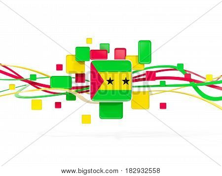 Flag Of Sao Tome And Principe, Mosaic Background With Lines