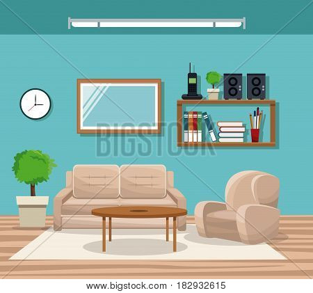 living room with sofa chair pot tree telephone bookshelf mirror table vector illustration