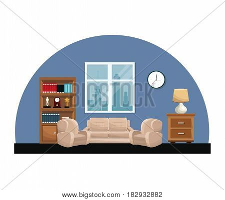 living room sofa armchair clock lamp small table bookcase trophy window vector illustration