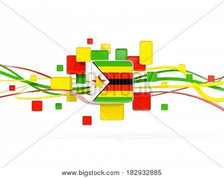Flag Of Zimbabwe, Mosaic Background With Lines