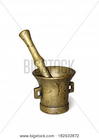 Old cast brass mortar on white background