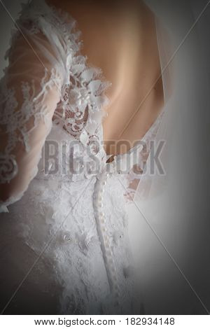 Back of bride dress from behind. Wedding dress
