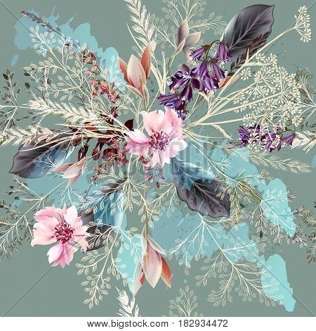 Floral illustration with spring flowers in realistic style. Pastel pink  colors