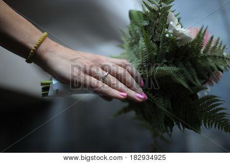 Wedding bouquet in brides hand. Wedding Day