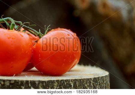 Three Tomatoes With Drops Of Water On Wood Background