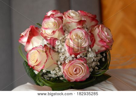 Wedding bouquet of flowers on the table