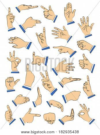 Vector illustrated hand set in different gestures signs.