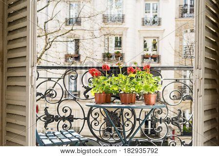 Springtime With Red Geraniums On A Paris Balcony