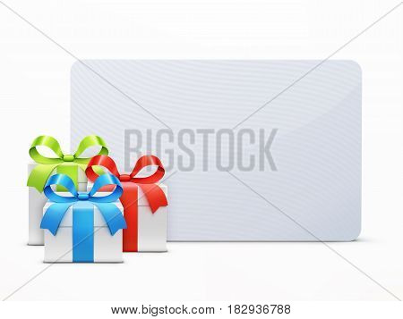 Vector illustration of three glossy gift boxes with colored ribbon bows and empty white greeting card isolated on a white background