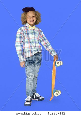 Young Boy Skateboarder Smile Hipster