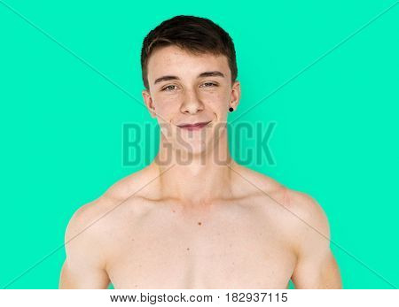 Young Adult Man Shirtless Studio Portrait