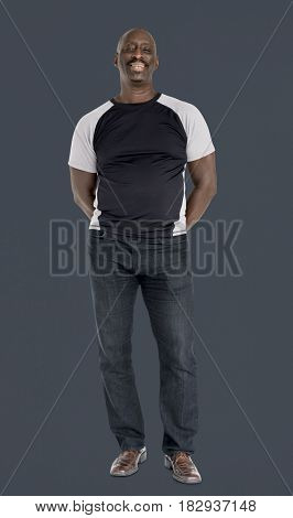 African descent man smiling studio portrait