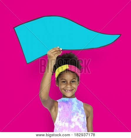 Little African Girl Holding board