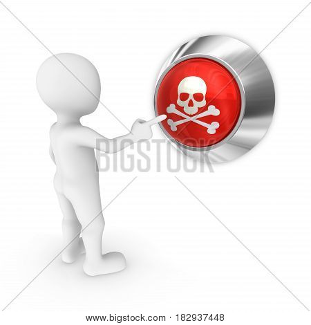 3d man presses the death button with scull.
