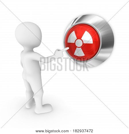 3D Man Presses The Nuclear Attack Button.
