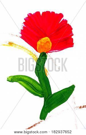 Flower painted in gouache in children's drawing style. Children's creativity.