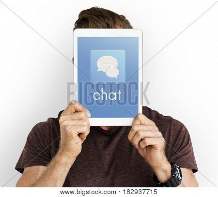 Show Tablet Chat Conversation Bubble Graphic