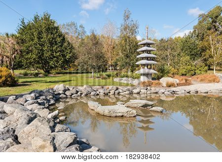 Japanese style pagoda with lake in Harling Park, Blenheim, New Zealand