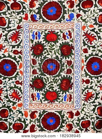 Colorful oriental pattern on the texture of cotton matter