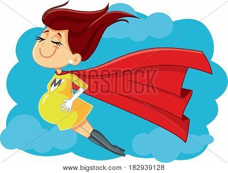 Super Mom Vector Cartoon Illustration - Pregnant Superhero