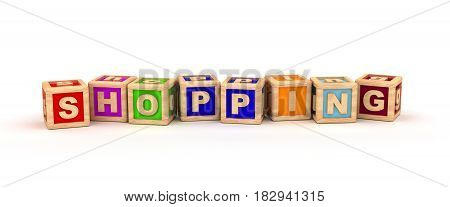 Shopping Text Cube (Isolated on white background) 3D Rendering