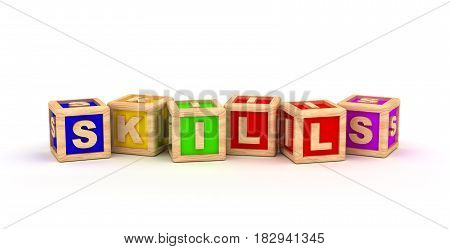 Skills Text Cube (Isolated on white background) 3D Rendering