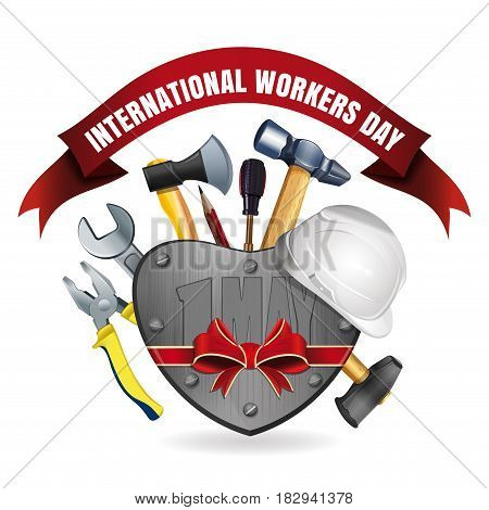 1 May. Happy International Workers Day. May Day. Greeting card for Labor Day with a set of tools. Vector illustration