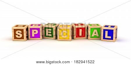 Special Text Cube (Isolated on white background) 3D Rendering
