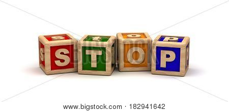Stop Text Cube (Isolated on white background) 3D Rendering