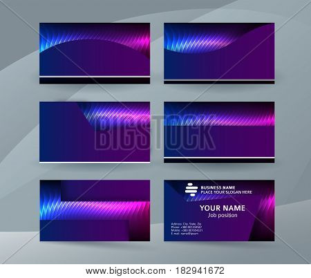 Business Card Background Blue Magenta Neon Effect08