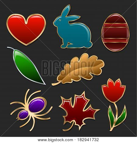 Set of figures made in the form of jewelry. Heart rabbit egg tulip and leaves of different trees framed by golden frames. Vector illustration.