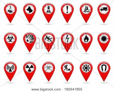Map pointers. Set of safety symbols. Location and specify the coordinates on the map terrain. Industrial Design. Red object on a white background. Vector illustration.